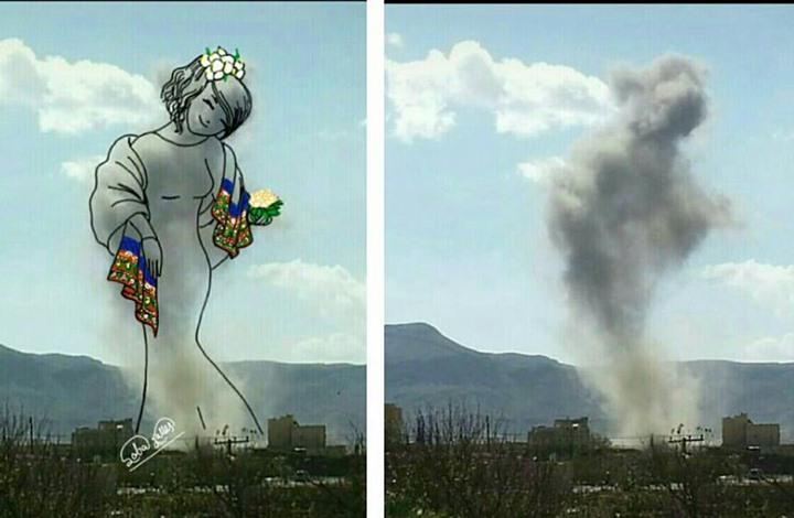 فنانة يمنية تحول صور الدمار إلى لوحات فنية