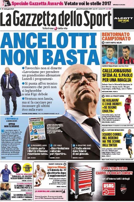 """""""خليفة فينتورا"""" يتصدر اهتمامات الصحف الإيطالية"""