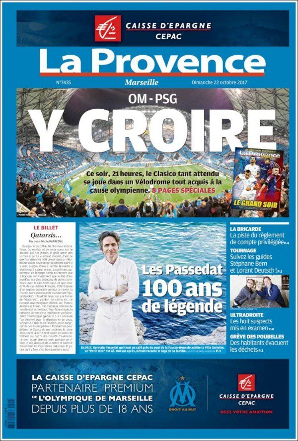 كلاسيكو سان جيرمان ومارسيليا يتصدر صحف فرنسا