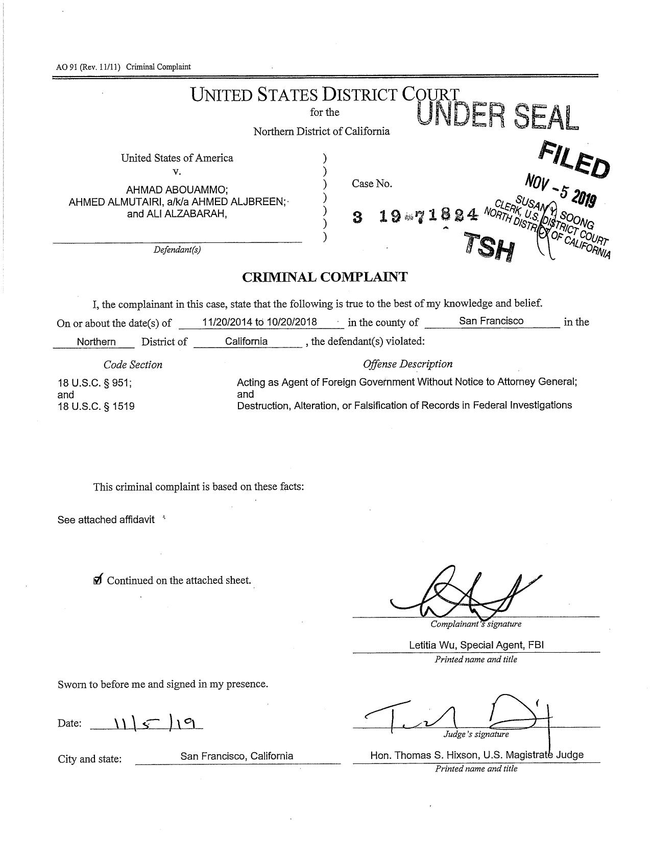 Saudi-agents-Twitter-criminal-complaint-11-6-19_page-0001