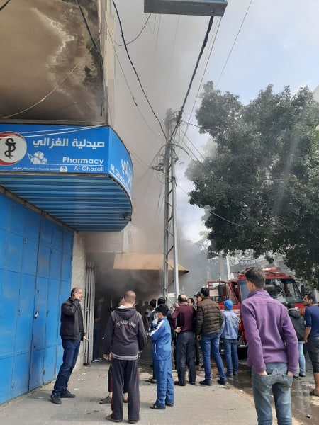 اندلاع حريق في محل ملابس بحي النصر بغزة