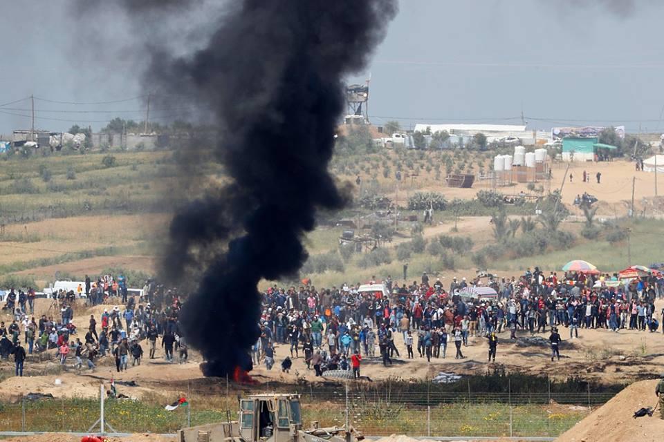 إصابات برصاص الاحتلال على حدود القطاع مع بدء فعاليات مسيرات العودة